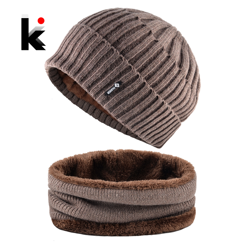 Winter Hats Set For Men Solid Color Knitted Striped   Skullies     Beanies   Scarf Male Warm Ski Caps Set Men's Thick Knit Hats Scarves