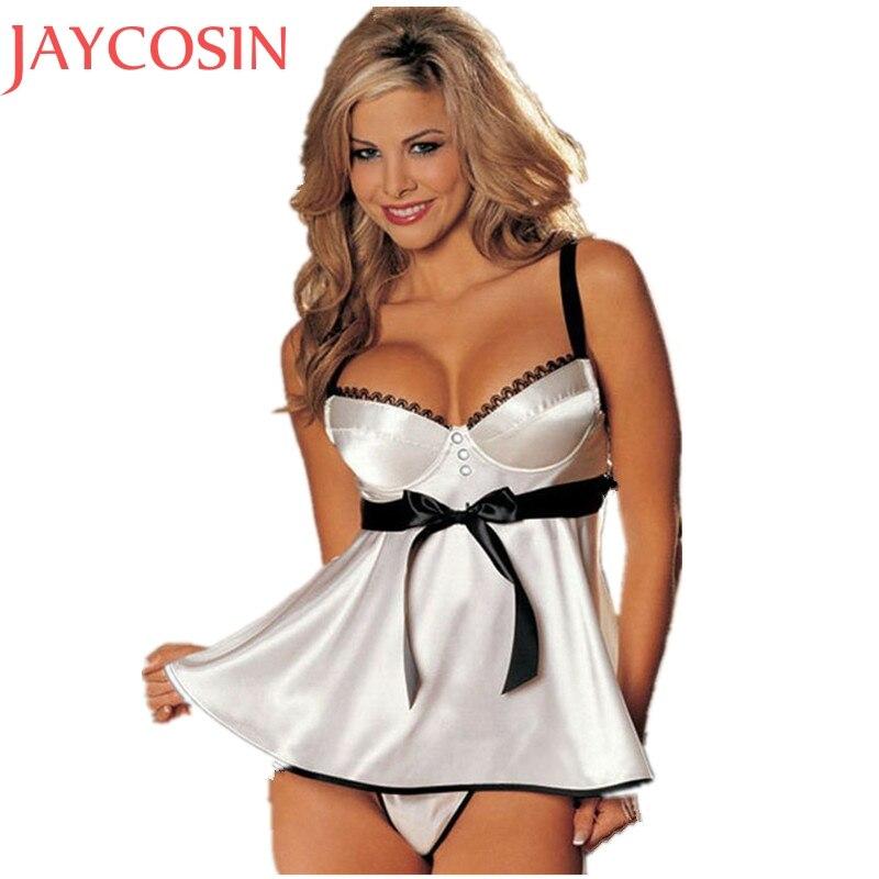 Buy Sexy Lingerie Women Lace Strap Backless White Babydoll Dress Erotic Sleepwear Nightwear Underwear G-String Vstring Thong Jan19