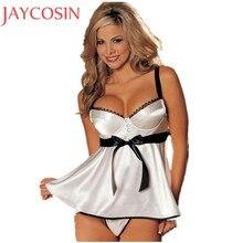 0f69800551 Sexy lingerie mujeres Encaje Correa backless blanco babydoll vestido Erotic  dormir Ropa interior g-string vstring Tanga jan19