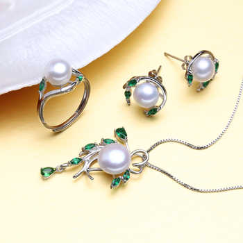 FENASY 925 Sterling Silver Natural Pearl Emerald Jewelry Sets Leaf Earrings Necklace Pendant Engagement Ring Sets For Women