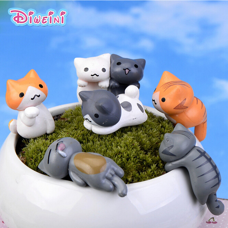 Animal Figurine Miniature Pvc-Craft Gift Boy Toys Model Cartoon Crouching Kawaii Cat