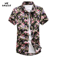 YK UNCLE Brand Hot New Fashion Trend Men Shirt Short Sleeve Slim Fit Floral Shirt Men