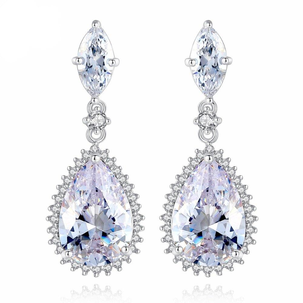 Classic big Water Drop CZ Earrings for Bridal Wedding Party  Women Dangle Jewelry