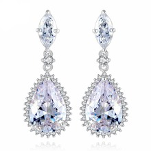 Classic big Water Drop CZ Earrings for Bridal Wedding Party  Women Dangle Jewelry