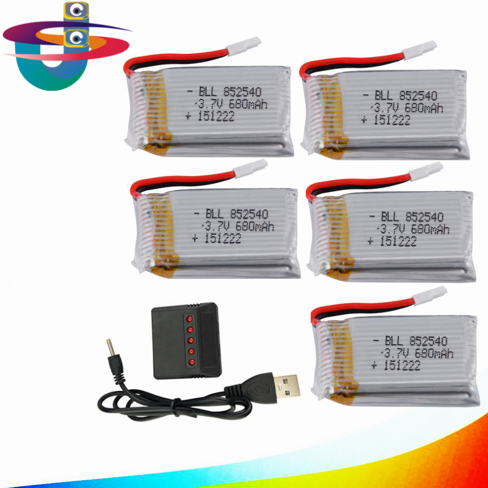 syma X5C Battery 5pcs batteries with 5in1 Charger With 680mAh 25C Upgrade Lipo Battery For X5sw X5C RC helicopter Battery Parts стоимость