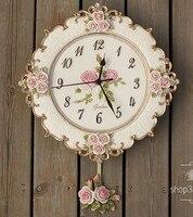A005 big size free ship wall clock romantic rose garden mute swing flowers morden new design resin craft
