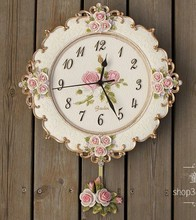 A005  big size free ship wall clock  romantic rose garden  mute swing flowers morden new design resin craft
