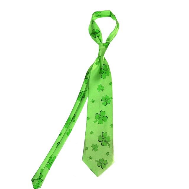 irish shamrock design mens st patricks day green tie disposable necktie holiday cosplay costume tie