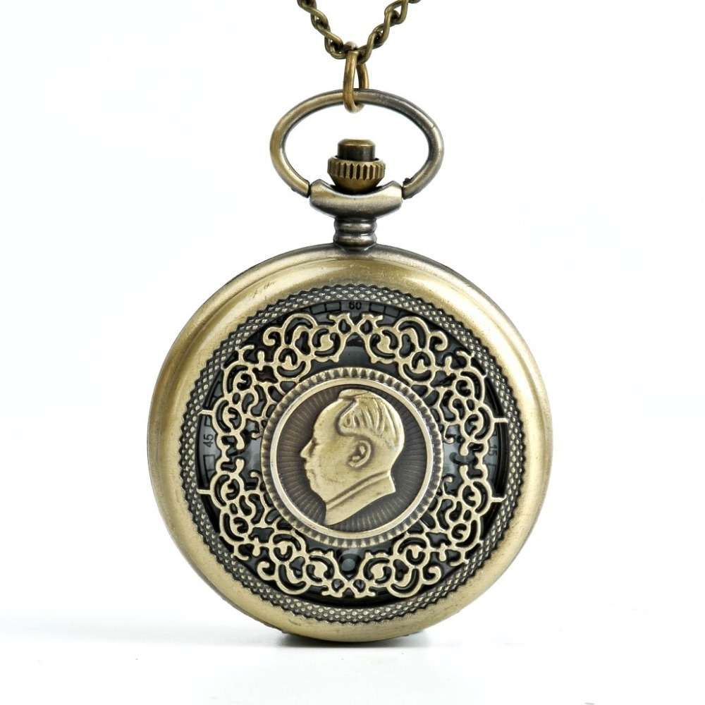 Unique Exquisite Gold Mao Zedong Chairman Mao Pocket Watch Roman Dial Flip Women Men Pocket Watches Collection Of China