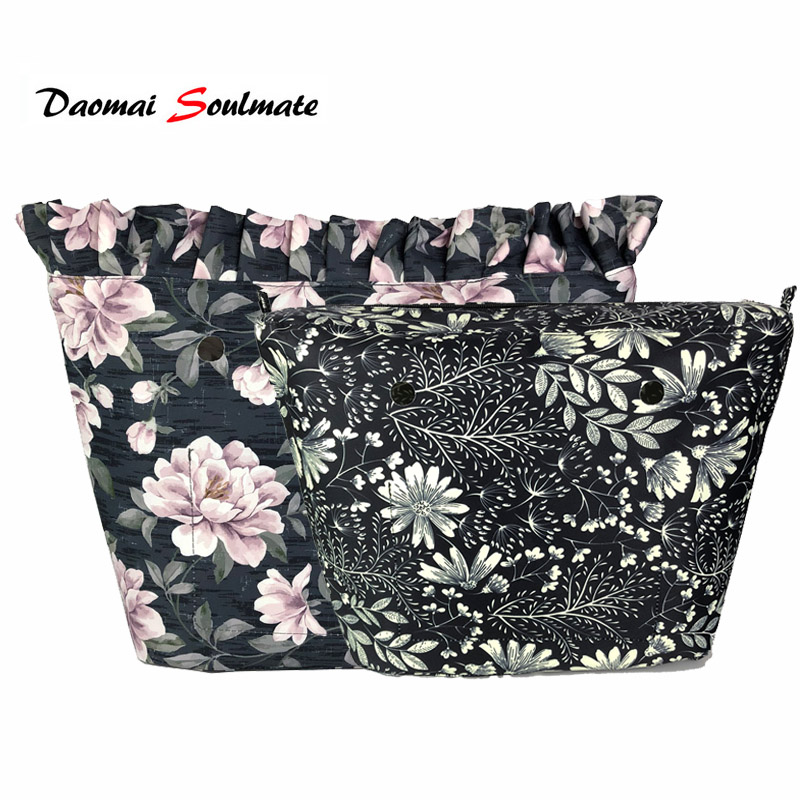 Floral Border Waterproof Inner Lining Insert For Obag O Bag Classic Mini Inserts Interior For O Bag Accessories Silicon Handbag