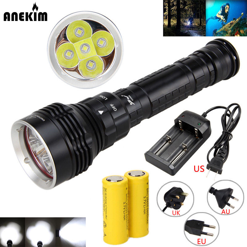 Underwater 10000LM 5x XM-L L2 LED Scuba Diving Flashlight Torch Waterproof 80M+ Battery+Charger new led diving flashlight aluminum alloy underwater 150m waterproof tactical flashlight 10000lm 6xl2 led flashlights torch light