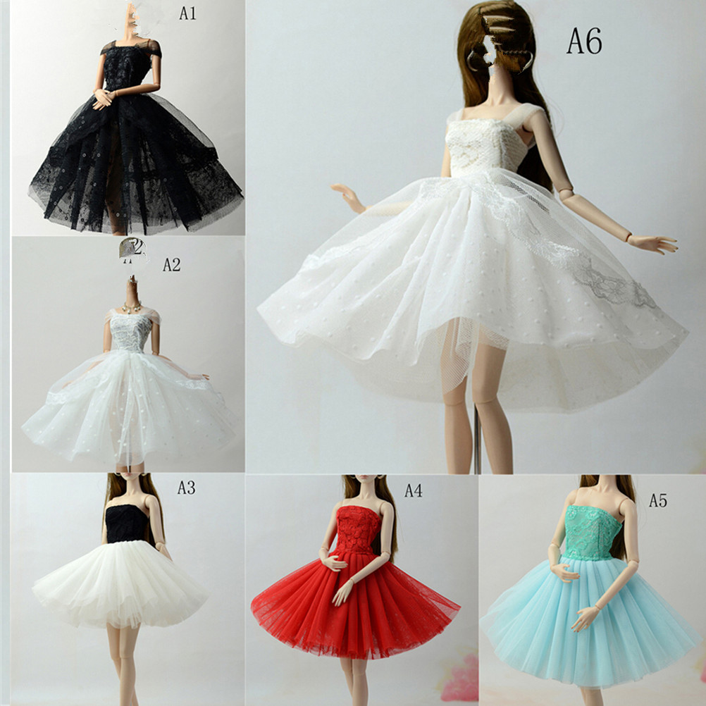 Elegant Doll Dresses Lace Lady Black Little Dress Evening Dress Clothes For Dolls For 1/6 BJD Doll Gift Doll Accessories