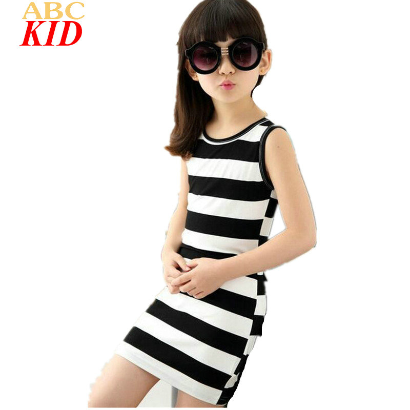 Summer Hot Sale Girls Striped Dress Sleeveless Casual Dress For Kids Classic White & Black Stripes Dresses Children Wear KD751