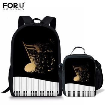 FORUDESIGNS notas musicales para piano patrón niños mochilas de escuela para niñas niños adolescente la escuela mochilas para niños bolso Mochila Escolar
