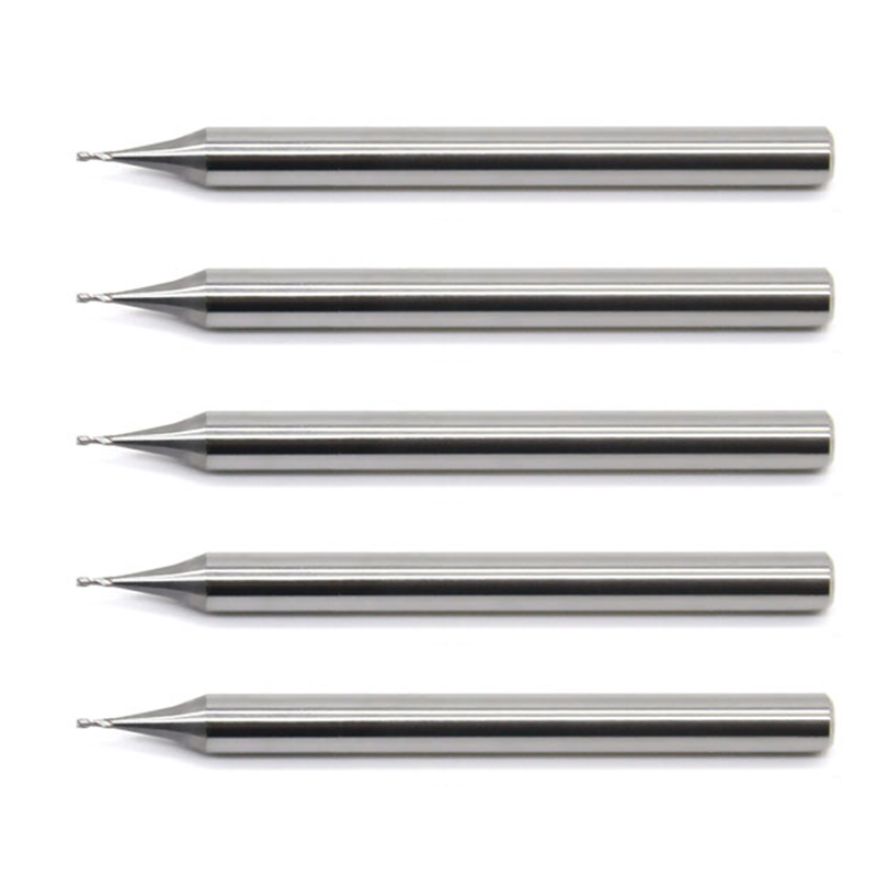 5pcs/set 55HRC 0.2/0.4/0.5/0.6/0.8/0.9mm Length 50MM 2 Flute CNC End Mill TiXCo Coated Solid Carbide 2 Flutes Micro End Mill