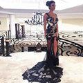 Hermoso Encaje Negro Sirena Vestidos de Baile 2017 Sexy Sheer Tulle Trasero Largo Elegante de Noche Vestidos Del Partido vestidos de fiesta