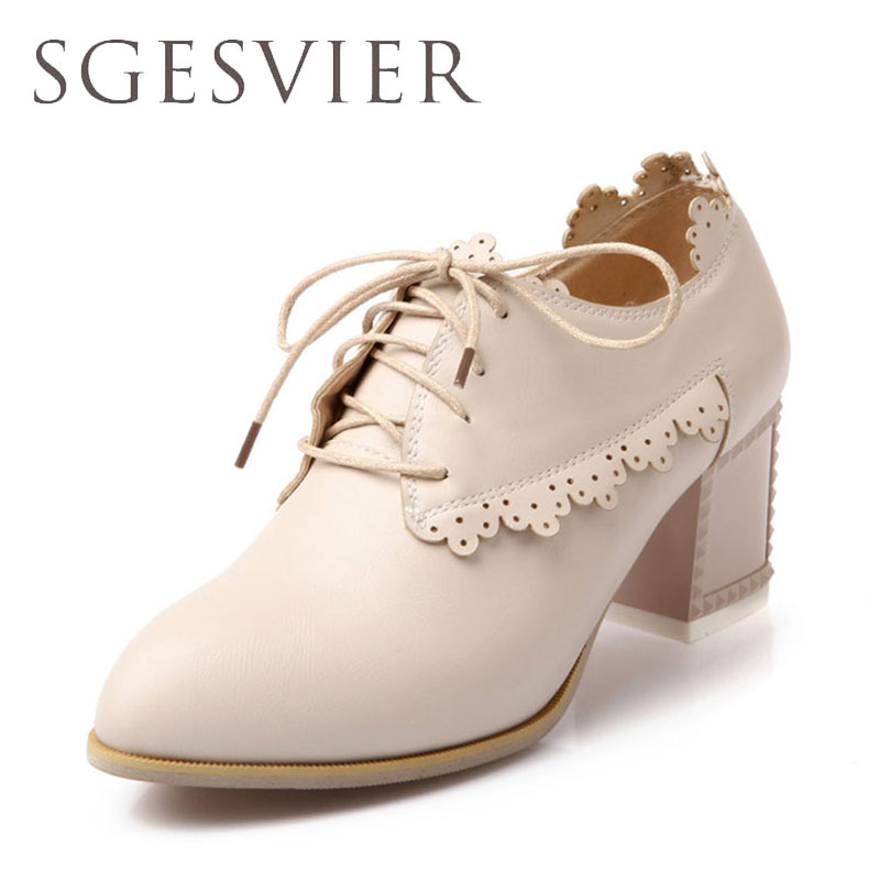 SGESVIER  Women Pumps Plus Size 34-43 Fashion Elegant Pointed Toe High Heels Wedding Lady Woman Shoes Square heel shoes Q001 2015 fashion women pumps high heel pointed toe shoes soft leather elegant ladies wedding shoes red black size 34 40