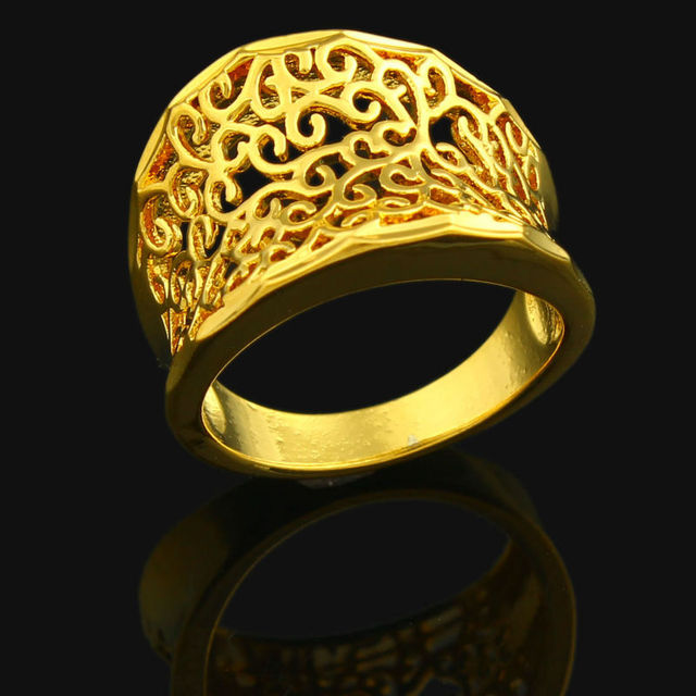 Ethiopian Ring For Women 24k Gold Color Wedding India African