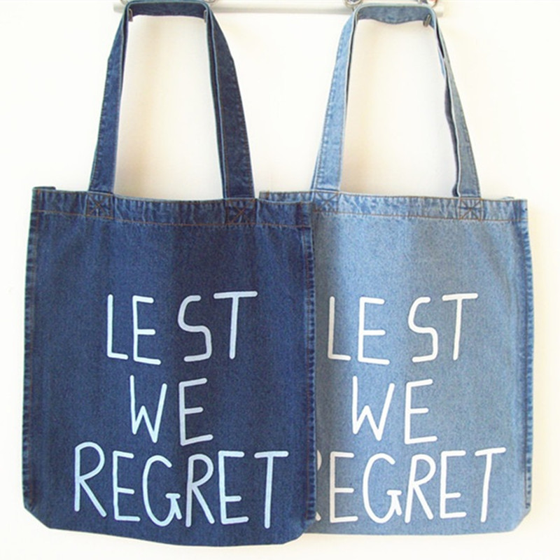 2016 High-capacity Handbags Women Casual Tote Shoulder Messenger Hand Bag Letter Design Washed Denim Environmental Shopping Bags