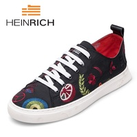 HEINRICH 2018 Spring Summer Casual Shoes Mens Canvas Shoes For Men Lace Up Canvas Shoes Men Sneaker Flat Shoes Zapatos Hombre