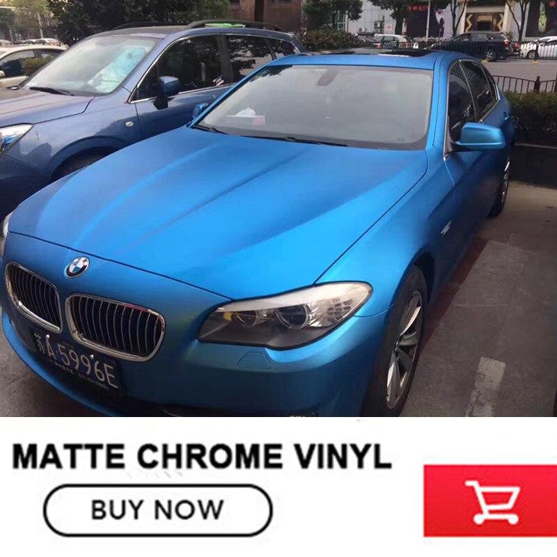OPLARE Chrome Mat CIEL Bleu Enveloppe de Vinyle De Voiture Wrap Avec Air Bubble Livraison Bleu Mat Film Taille 1.52x20 m/Rouleau