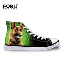 FORUDESIGNS Women s Canvas Shoes Cute 3D Dog High Top Casual Ankle Shoes Outdoor Walking Superstar