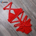 Bandea sexy women swimsuit marca solid summer traje de baño rojo negro monokini traje de baño traje de baño halter ha606