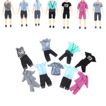 1Set Outfits Casual Suits Doll Clothes Plaid Shirt T-shirt +Pants Trousers Prince Wear For Girl Ken Doll Accessories Gift(China)