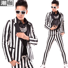 Male Fashion Wide Stripe Patchwork casual Suit Nightclub Male dj Singer Stage Performance Jacket