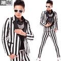 Moda masculina grande tarja Patchwork casuais jaqueta palco cantora de boate masculino dj
