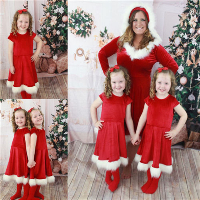 Christmas Costumes Mother Daughter Dress Santa Long Sleeve Velvet Patchwork Dresses  Hot Family Matching Outfits Xmas Family Look d1bf4868a7d5