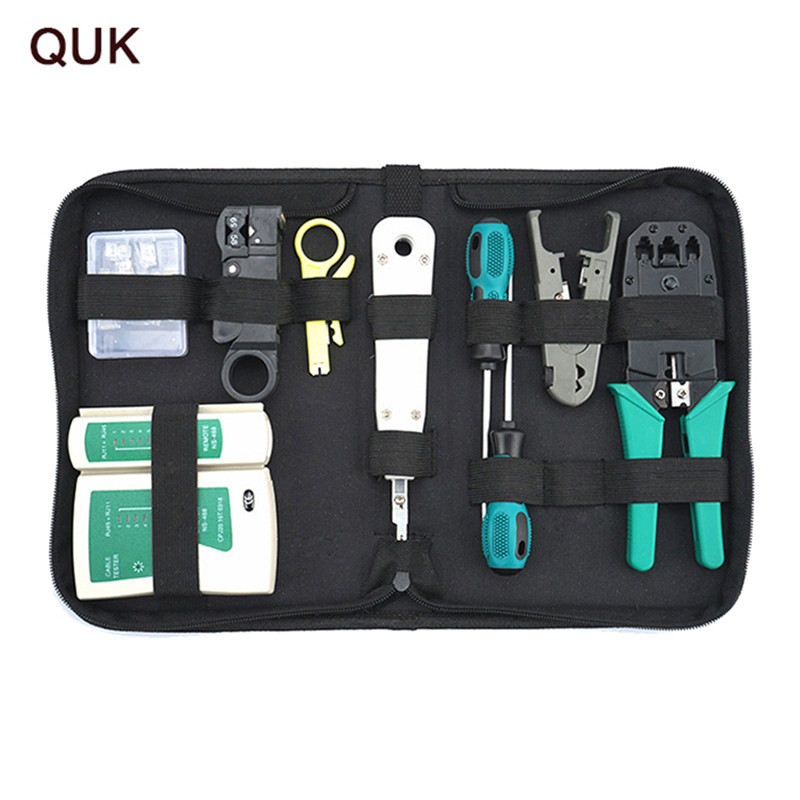 QUK Computer Network Repair Tool Kit 11 in 1 Portable Cable Tester Plier Crimper LAN cable tester/screwdriver/Crimping Knife