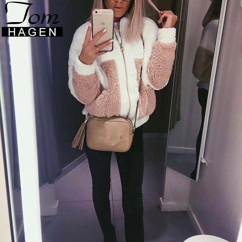 2018 Herbst Winter Frauen Sweatshirt Warme Mantel Vliese Lose Harajuku Zipper Tasche Patchwork Casual Frau Jacke Oberbekleidung Direktverkaufspreis