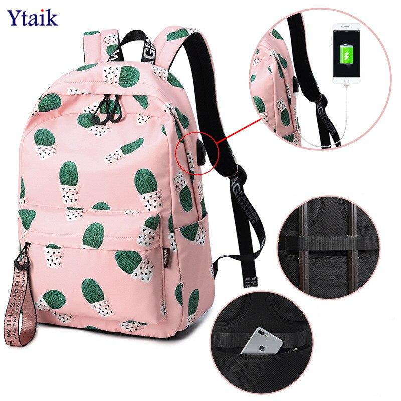 YTAIK Waterproof USB Charging Anti Theft Backpack Women Cactus Bookbag Cute School Bag for Teenage Girls Kawaii Pink Knapsack