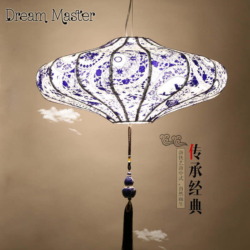 The new Chinese wind Zen of blue and white chandelier restaurant living room   Southeast Asia lantern cloth chandelier asia blue card 100g
