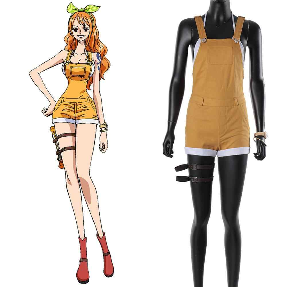 2019 One Piece Nami Cosplay Costume Uniforme Cappotto Pieno Vestito di Halloween Costume