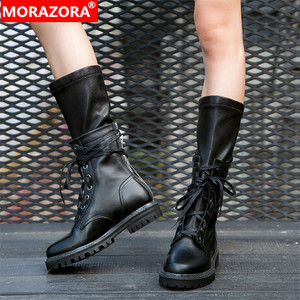 Image 1 - MORAZORA 2020 new fashion winter Military boots women genuine leather lace up zip punk platform shoes woman mid calf boots