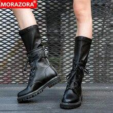 MORAZORA 2020 nouvelle mode hiver bottes militaires femmes en cuir véritable à lacets zip punk plate forme chaussures femme mi mollet bottes