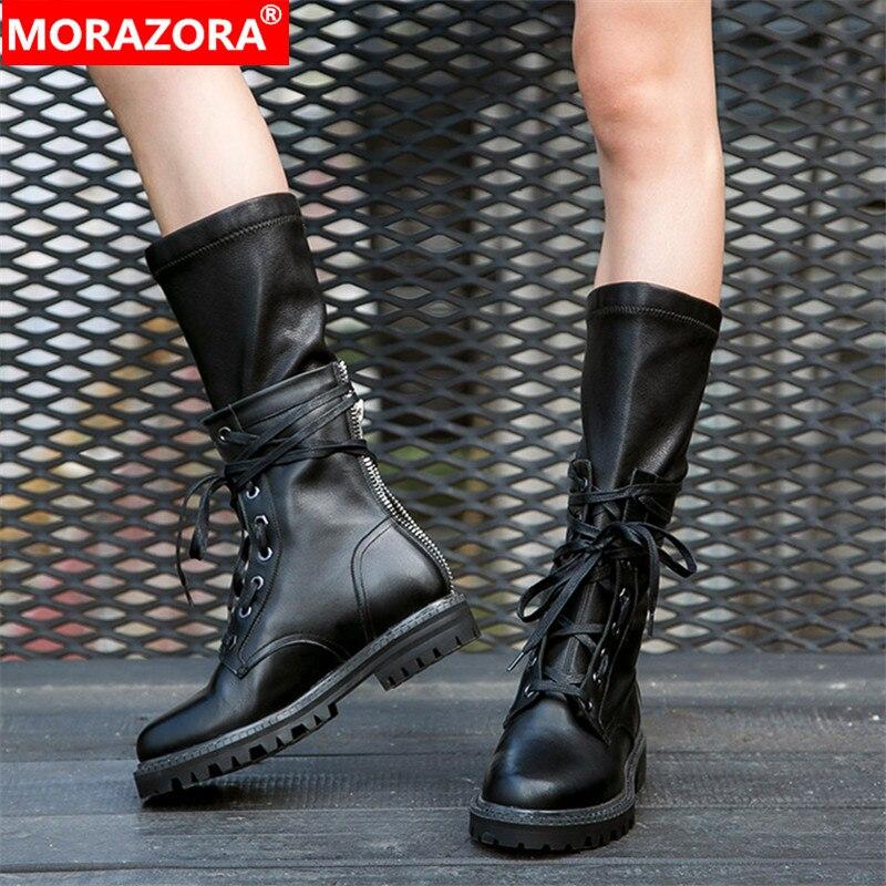 Ayakk.'ten Diz Altı Çizmeler'de MORAZORA 2020 yeni moda kış Askeri botlar kadınlar hakiki deri lace up zip punk platform ayakkabılar kadın orta buzağı çizmeler'da  Grup 1