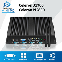 Fanless Mini PC Dual LAN 1000Mbps Ethernet 4 COM Industrial Computer Celeron J1900 N2830 Windows 7 Mini Computer rj45 rs232