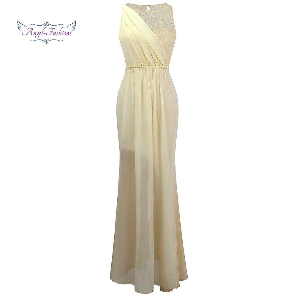 Angel-fashions Sheer Key Hole Lace Pleat Chiffon Mermaid Long   Evening     Dress   Light Champagne J-170904-S