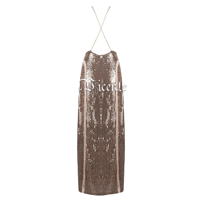 Vicente Nu Dos Chaude Glissement Élégant Paillettes V Sexy Style Robe Nouveau Or Maille 2019 Maxi cou Longue Celebrity Patchwork Embelli PPdqUwrvn