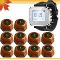 Restaurante garçom sistema de alarme 1 relógio pager e 10 botão de chamada sem fio frete grátis