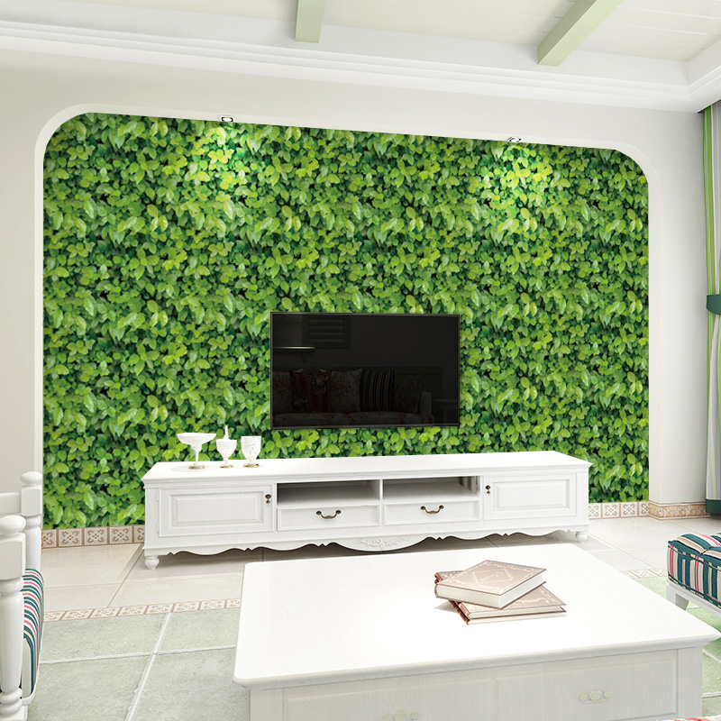 Removable PVC Self-adhesive Sticker Wall Painting Green Leaves Wallpaper Living Room Bedroom Wall Pastoral Decoration Wall PaperRemovable PVC Self-adhesive Sticker Wall Painting Green Leaves Wallpaper Living Room Bedroom Wall Pastoral Decoration Wall Paper
