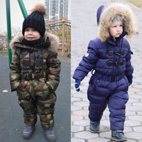Russian winter children Boy Girls White Duck down jacket boys outerwear Jumpsuit Kids thicken Warm snowsuits Overall 3 8T R03