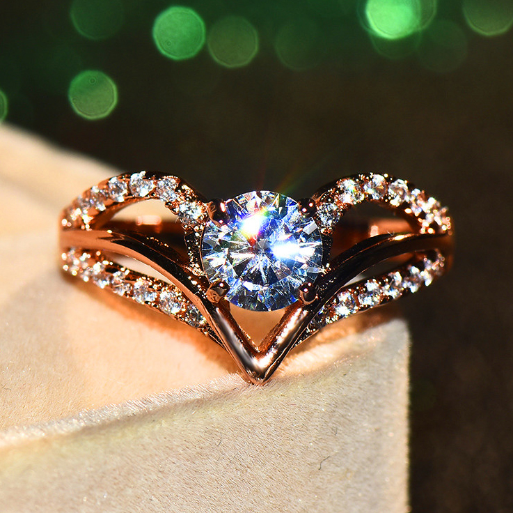 Boho Female Crystal White Stone Ring Vintage Rose Gold Color Zircon Wave Wedding Ring Cute Promise Engagement Rings For Women