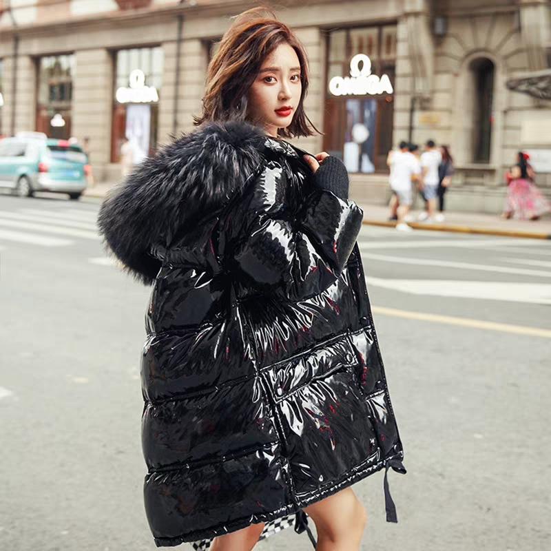 Patent Leather Glossy Winter White Duck   Down   Jacket Women Large Size Hooded Long Warm Parka 2019 New Arrival Womens   Down     Coats