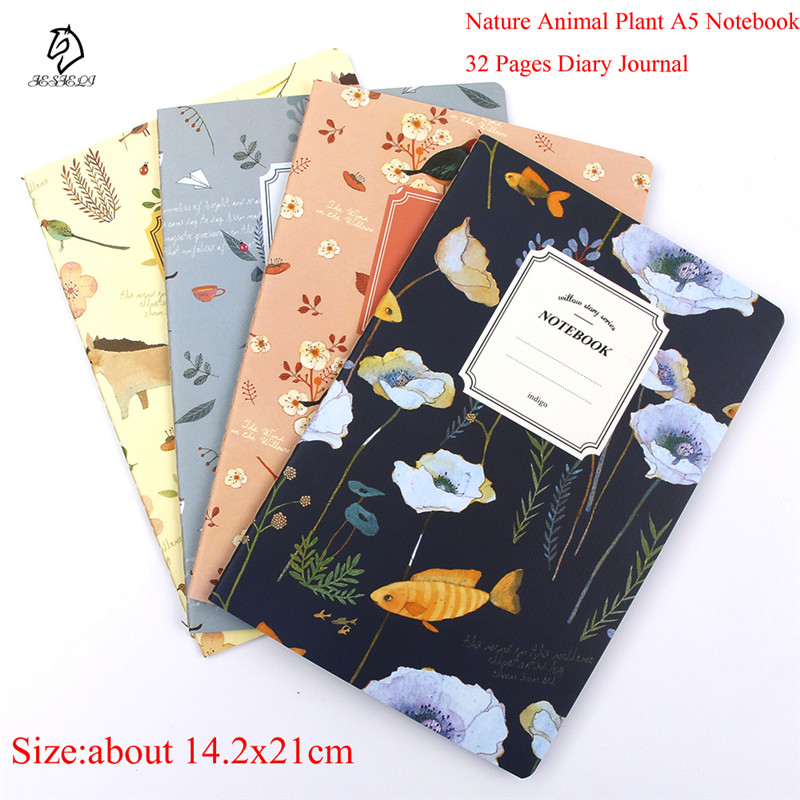 Cute Nature Animal Plant A5 Notebook 32 Page Notepad Diary Journal Office School supplies free shipping a5 20 page 30 page 40 page 60 page file folder document folder for files sorting practical supplies for office and school