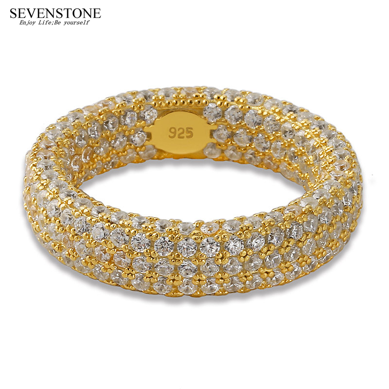 SEVENSTONE 2019 New 925 Silver Micro-inlay Zircon Women Ring Jewelry Hiphop Europe and America Hip-hop Personality Rings for MenSEVENSTONE 2019 New 925 Silver Micro-inlay Zircon Women Ring Jewelry Hiphop Europe and America Hip-hop Personality Rings for Men