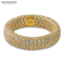 SEVENSTONE 2019 New 925 Silver Micro-inlay Zircon Women Ring Jewelry Hiphop Europe and America Hip-hop Personality Rings for Men